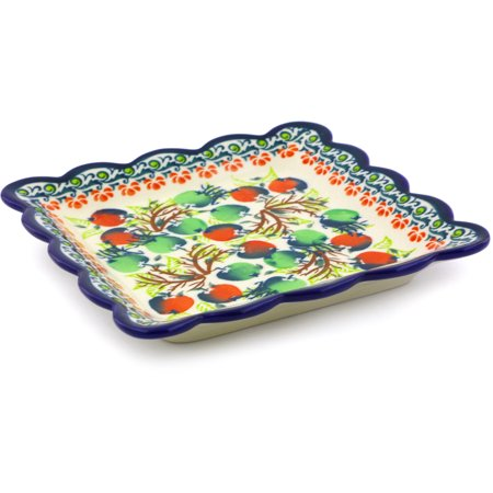 Polish Pottery 6½-inch Scalloped Platter (Red And Green Berries Theme) Hand Painted in Boleslawiec, Poland + Certificate of Authenticity