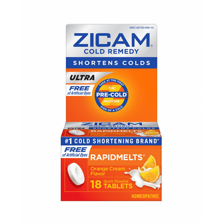 Zicam Ultra Cold Remedy RapidMelts, Orange Cream Flavor, 18 Tablets