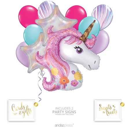 Andaz Press Magical Unicorn Balloon Bouquet Kit, Unicorn Party Supplies, Inflatable Foil Mylar and Latex Balloons](Inflatable Balloon)