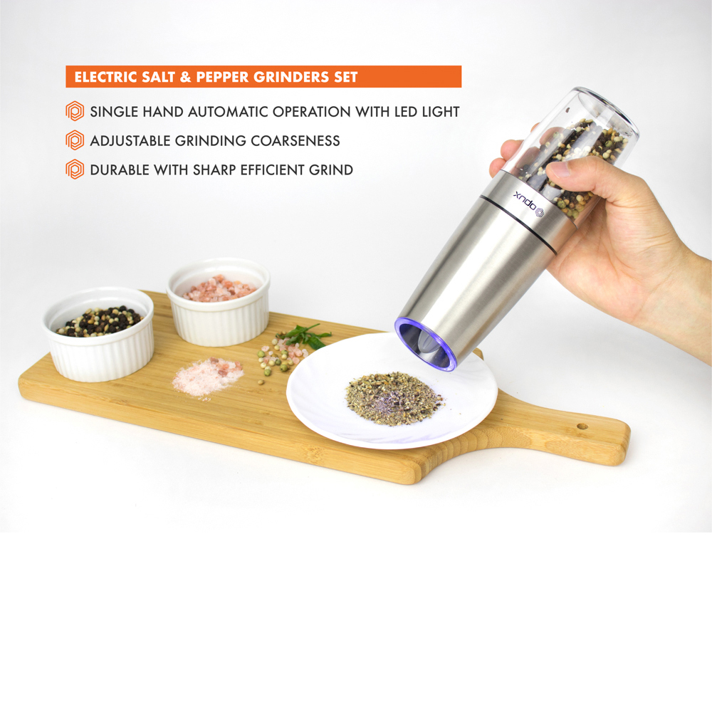 ALIXIN Gravity Salt and Pepper Grinder Set Electric Salt and Pepper Shaker with Adjustable Thickness Pepper Grinder One Hand LED Light Suitable for Household Environmental Protection