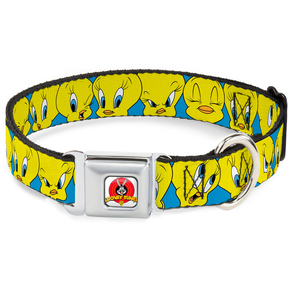 Dog Collar LTA-Looney Tunes Logo White - Tweety Bird Expressions3 Baby Blue Pet Collar