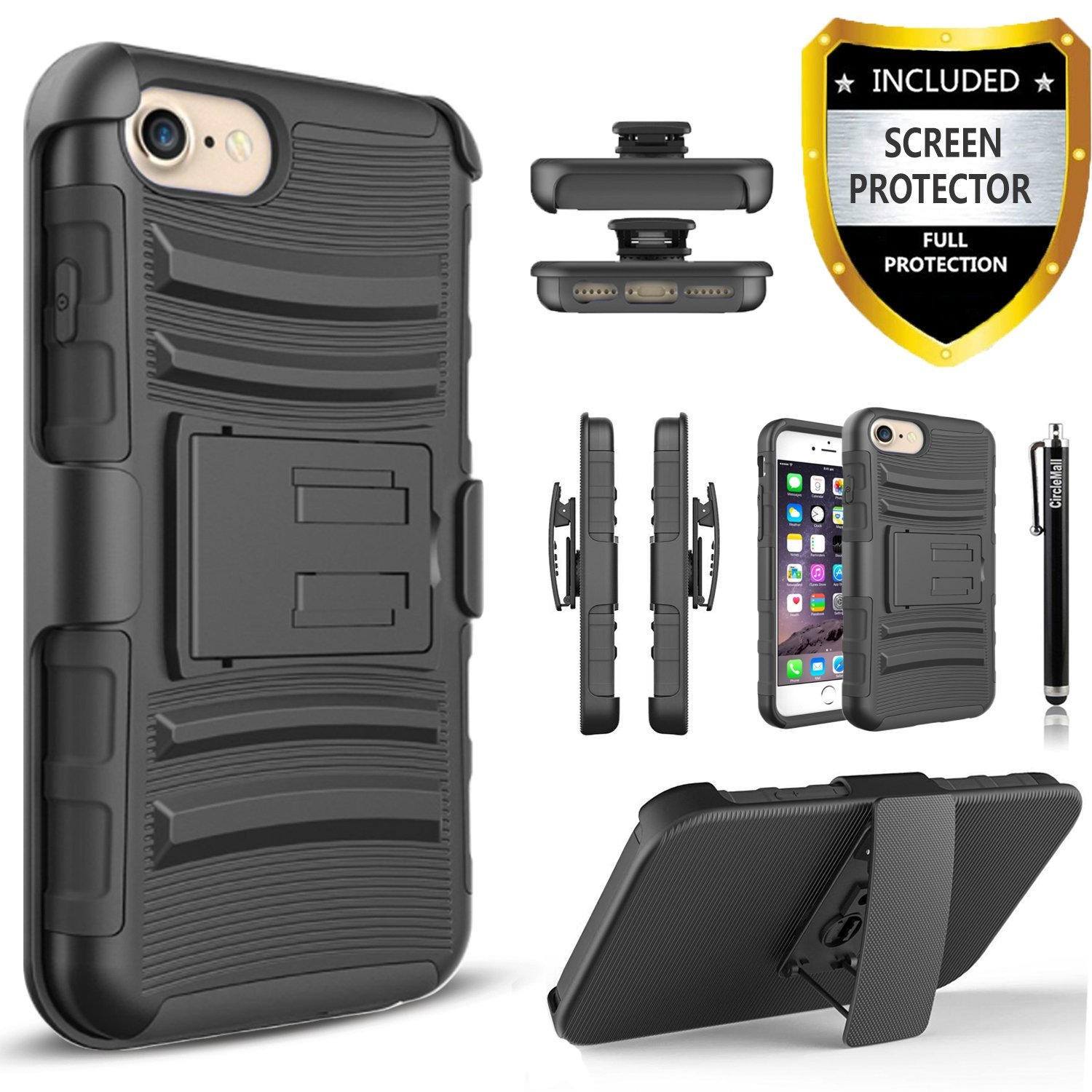 iPhone 8 Plus Case, 2-Piece Style Hybrid Shockproof Hard Case Cover with [Tempered Glass Screen Protector] Hybird Shockproof And Circlemalls Stylus Pen For Apple iPhone 8 Plus (Black)