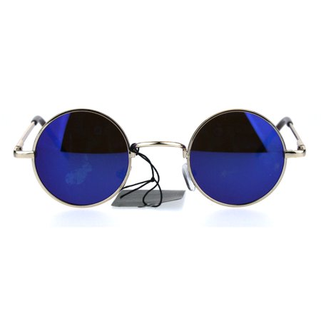 c90d3f6f70b9e SA106 - Colored Mirror Lens Snug Small Circle Round Hippie Shade Sunglasses  Gold Blue - Walmart.com