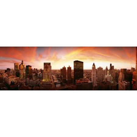 Sunset Skyline Chicago IL USA Canvas Art - Panoramic Images (18 x