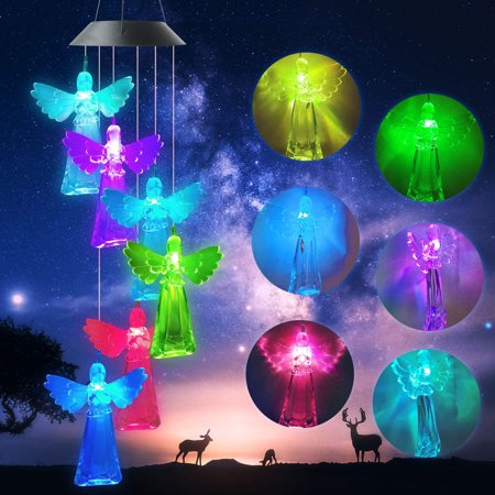 Angel Solar Wind Chimes Outdoor Gardening Gifts for mom Unique Birthday Gifts for Women who has Everything Mother Gifts Gifts for Girlfriend Valentine Gifts for Wife TOP UNIQUE GIFTS Solar Angel Wind Chime The interesting wind chimes light decoration is not only the best gift for girlfriend, wife's wedding anniversary, child's birthday,mother's birthday, or Mother's Day, Father's Day,Thanksgiving Day,Valentine's Day and Christmas, But also the high-quality interesting led wind chimes gardening/home gift for anniversaries. Day and night effects In sunny days,they will charge themselves and glow at night. Just hang the solar wind chimes in your fence,courtyard,window,door and front porch. On a quiet night,the lovely wind chimes will make you feel at ease and make your yard beautiful and colorful. You can even hang them indoors to fill your room with romance,so that you and your loved ones can enjoy this beautiful color light. Best gift Meaning of an angel Angel is a messenger of God, she is sent by God to protect the world, and an angel represents holiness, goodness, and integrity. She will protect you from demons, bless you and your family, and guard you and your loved ones. Color changing These are interesting and magical wind chimes.At night,them will glow in wonderful colors.  solar power,charge and light up automatically The first time, you need to keep the switch   ON  ,Remember never to turn off the switch,Then Hang the solar panels in a sunny location.Chimes will automatically charge day and automatically light up at night. HIGH QUALITY SOLAR ANGEL WIND CHIME LIGHT Specification: Item name:Solar Wind Chime Switch: ON/OFF switch. Waterproof Level: IP55 Voltage: 2V 60mA NICD Battery: 600MA Full charge time: 8 hours (Withe direct sunlight) The solar panel is located at the top of the wind chimes. Light weight and color changing light. It is not make any sound. How to charger: In order to verify that the switch is correctly in the  ON  position, cover the solar pa