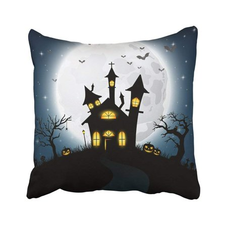 Halloween Cemetery Gates (ARTJIA Blue Animal Of Halloween With Scary Church Autumn Bat Cartoon Celebration Cemetery Creepy Pillowcase 18x18)