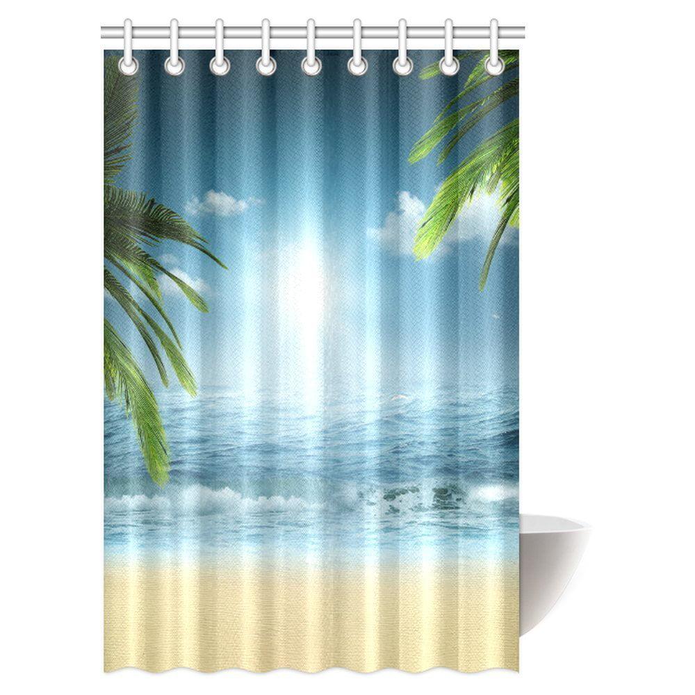 mypop ocean beach theme decorations shower curtain beach sunset ocean bathroom decor shower. Black Bedroom Furniture Sets. Home Design Ideas