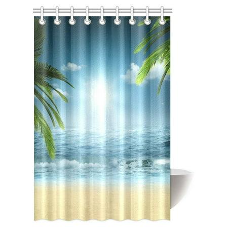 Mypop Ocean Beach Theme Decorations Shower Curtain Sunset Bathroom Decor Set