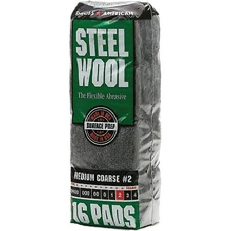 Rhodes American 106605-06 No.2 Steel Wool Poly Sleeve - 16 Pad Rhodes Steel Wool
