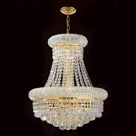 "Worldwide Lighting W83030G20 Empire 14-Light 1 Tier 20"" Gold Chandelier with Clear Crystals"