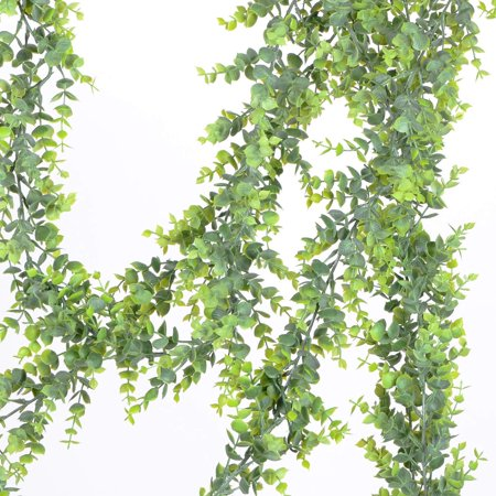 2 Pack Faux Eucalyptus Garland, Artificial Vines Fake Eucalyptus Greenery Garland Wedding Backdrop Arch Wall Decor, 6 Feet/pcs Fake Hanging Plant for Table Festival Party - Hanging Arch