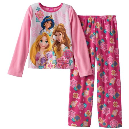Disney Princess Big Girls' Belle Aurora Rapunzel Cozy Fleece Pajama Set