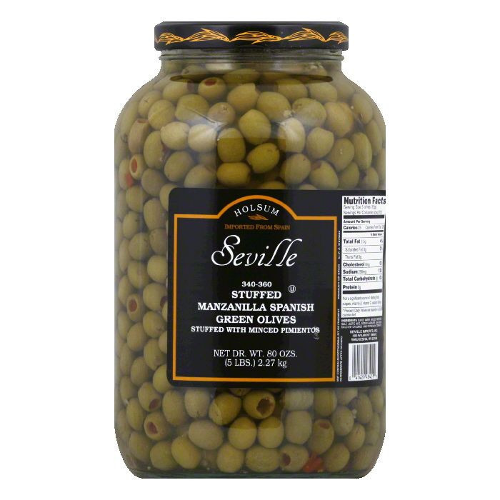 Holsum Olives, Spanish Green, Manzanilla, Stuffed by Seville Imports