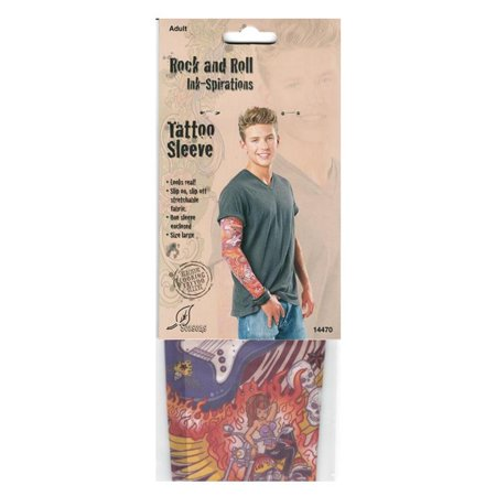 Rock and Roll Tattoo Sleeve Ink-Inspired Realistic Printed Fabric Design
