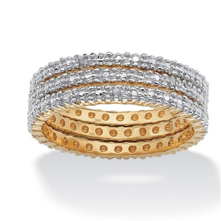 3 Piece Diamond Accented Eternity Band Set in 18k Gold over Sterling Silver