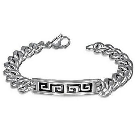 Stainless Steel Black Silver-Tone Mens Greek Key Link Chain Bracelet with Clasp - Greek Key Mens Bracelet
