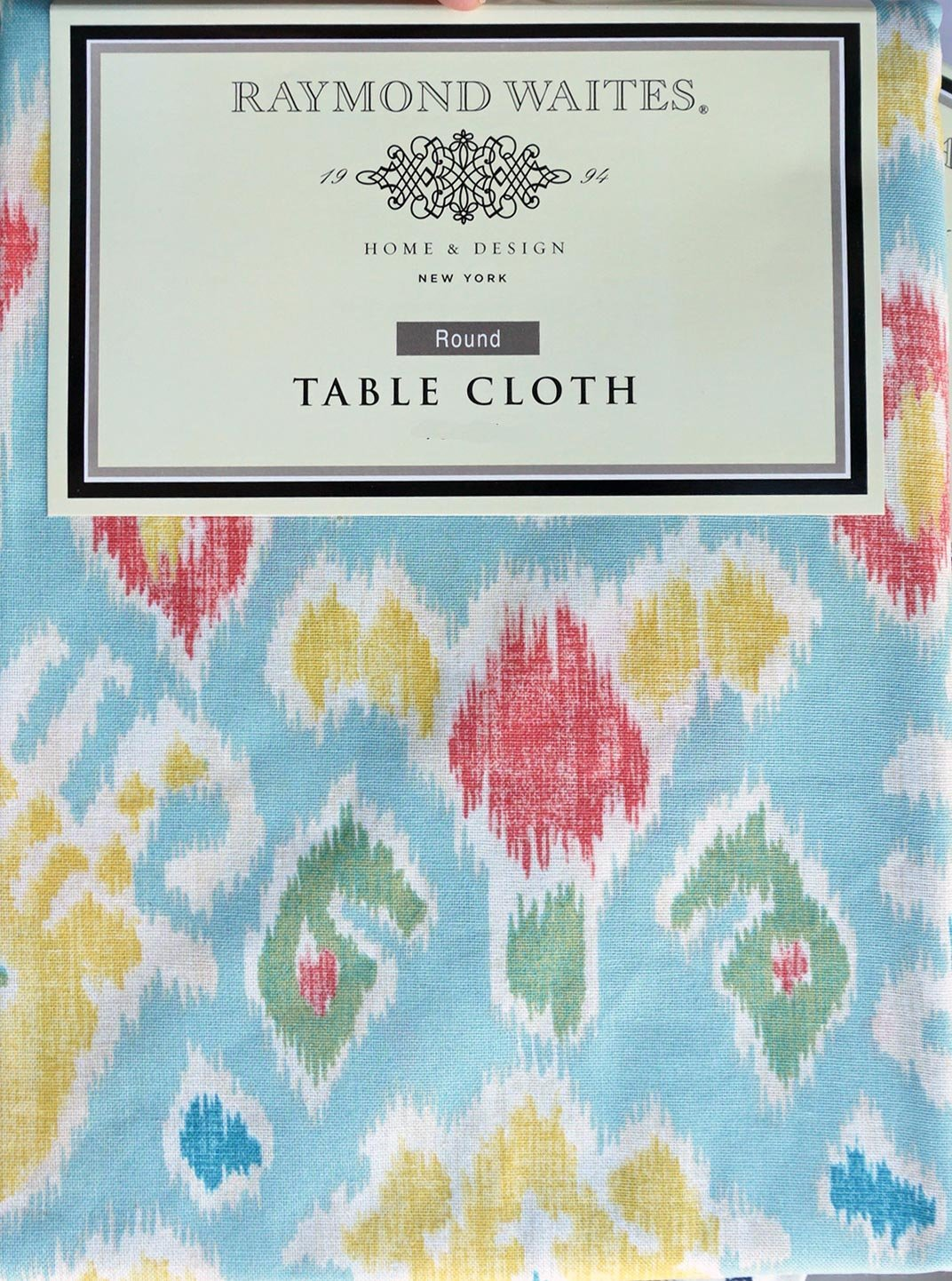 Product Image Fabric Tablecloth Geometric Pattern Yellow Green Red Blue  Cream    60 Inches X 102 Inches