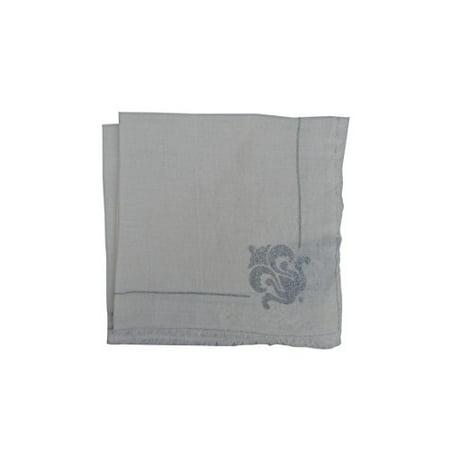 Gitika Goyal Khadi Silver Printed Flower Emblem Napkin (Set of 4) 17 x 17