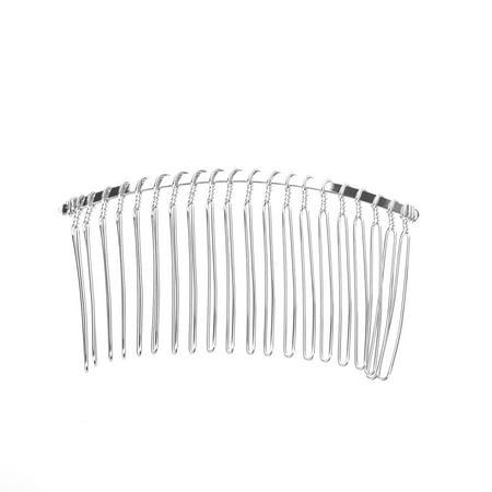 3pcs 7.8cm 20 Teeth Fancy DIY Metal Wire Hair Clip Combs Bridal Wedding Veil Combs (Silver)