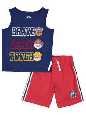 1e015041 Product Image Paw Patrol Graphic Muscle Tank & Drawstring French Terry Short,  2pc Outfit Set (Toddler