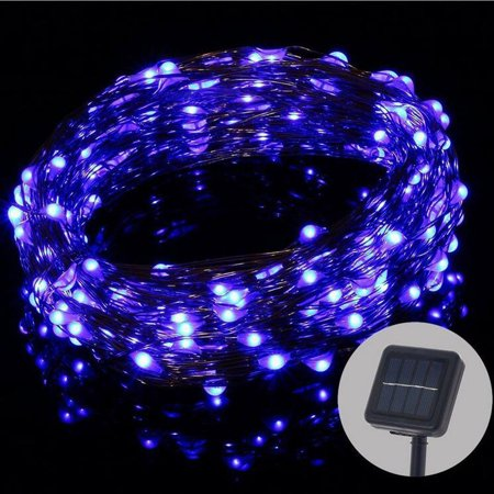 32.8ft 100 LED Lights, Waterproof Copper Solar String Lights for Christmas Tree Outdoor Garden Patio Party Wedding Holiday Home Decoration Blue ()