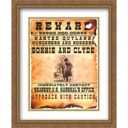 Bonnie and Clyde Wanted Poster 2x Matted 22x28 Large Gold Ornate Framed Art - Personalized Wanted Poster