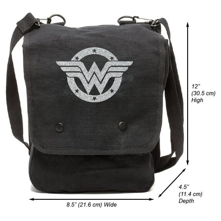 Wonder Woman Logo Canvas Crossbody Travel Map Bag