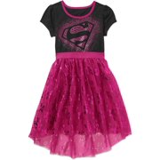 Supergirl Girls' Short Sleeve Hi/Low Pink Tutu Dress
