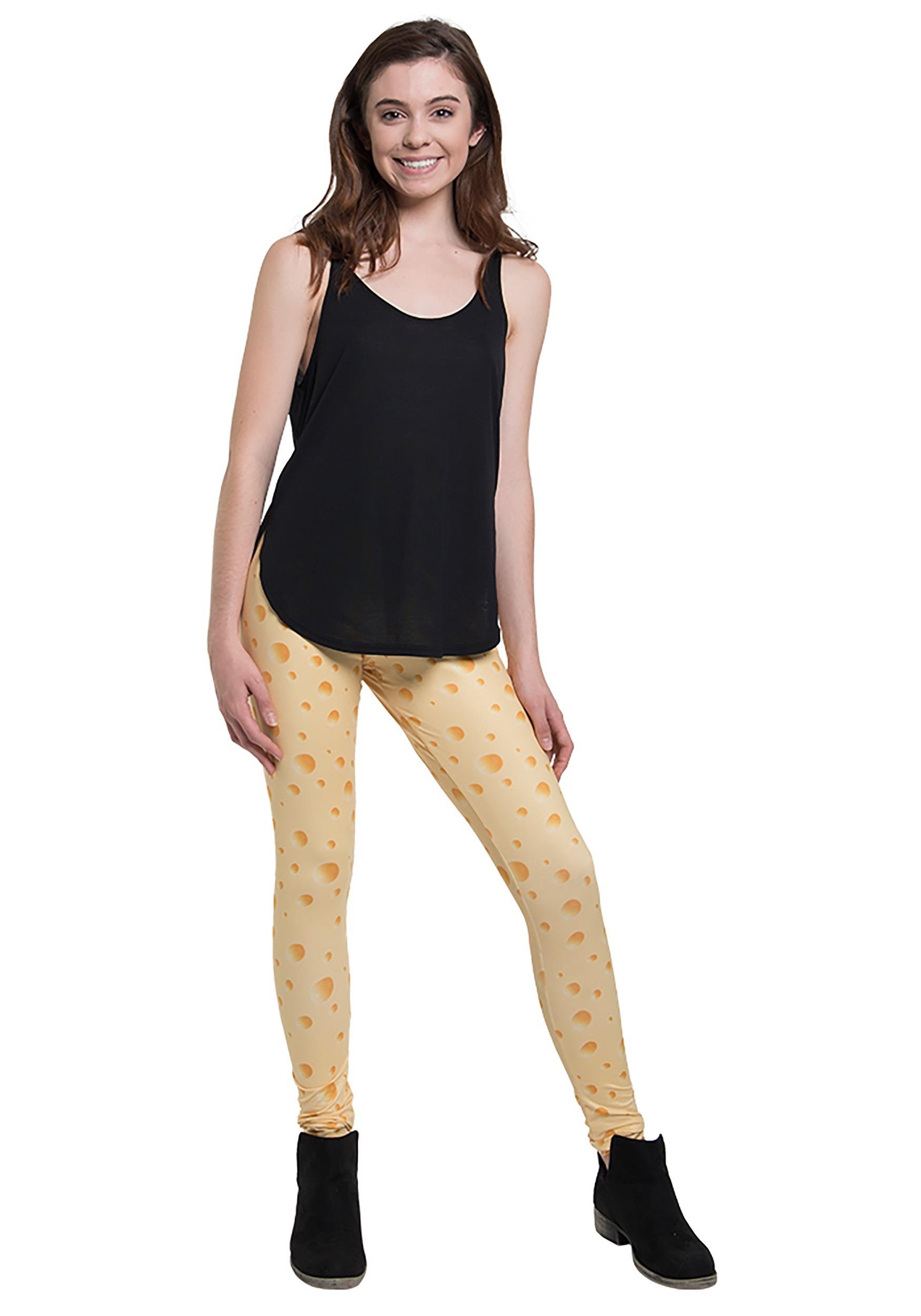 Womens Cheese Print Leggings