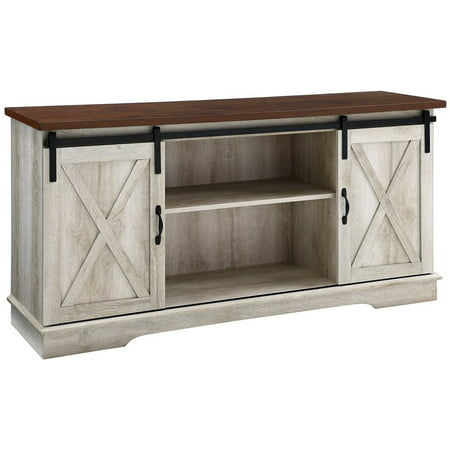 58 inch Sliding Barn Door TV Stand Media Console in White Oak