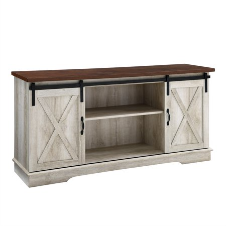 58 inch Sliding Barn Door TV Stand Media Console in White Oak Maple Oak Tv Stand