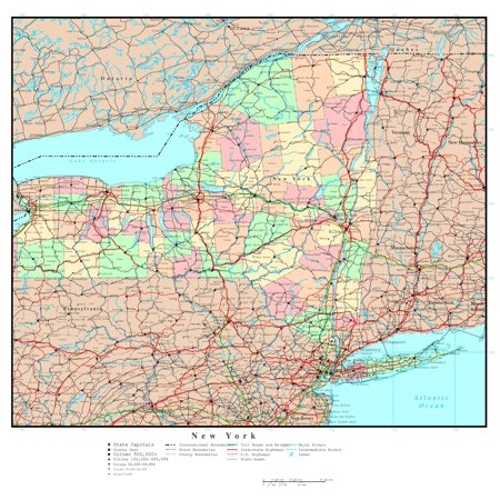 Laminated Map - Large detailed administrative map of New York state with roads, highways and major cities Poster 24 x 36 ()