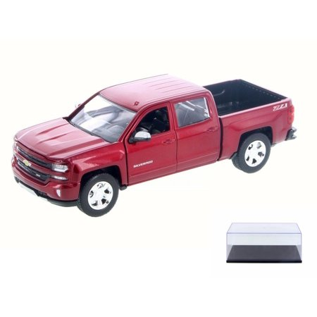 Diecast Car & Display Case Package - 2017 Chevy Silverado 1500 LT Z71 Crew Cab Truck, Red - Motor Max 79348R - 1/27 Scale Diecast Model Toy Car w/Display Case Best Crew Cab Truck