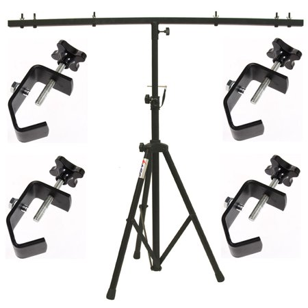 DJ Pro Audio Lighting Fixture Tripod Stand & T-Bar Light Truss & (4) C Clamps (Dj Light Stand With Case)