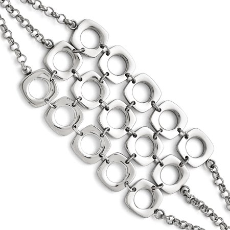 Stainless Steel Three Strand Square Toggle Bracelet 7.5 Inch Chain Fancy Gifts For Women For Her