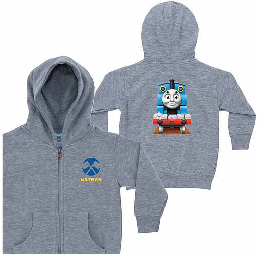 Personalized Thomas & Friends Flag Little Boys' Grey Zip-Up Hoodie
