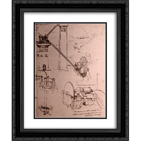 Leonardo da Vinci 2x Matted 20x24 Black Ornate Framed Art Print