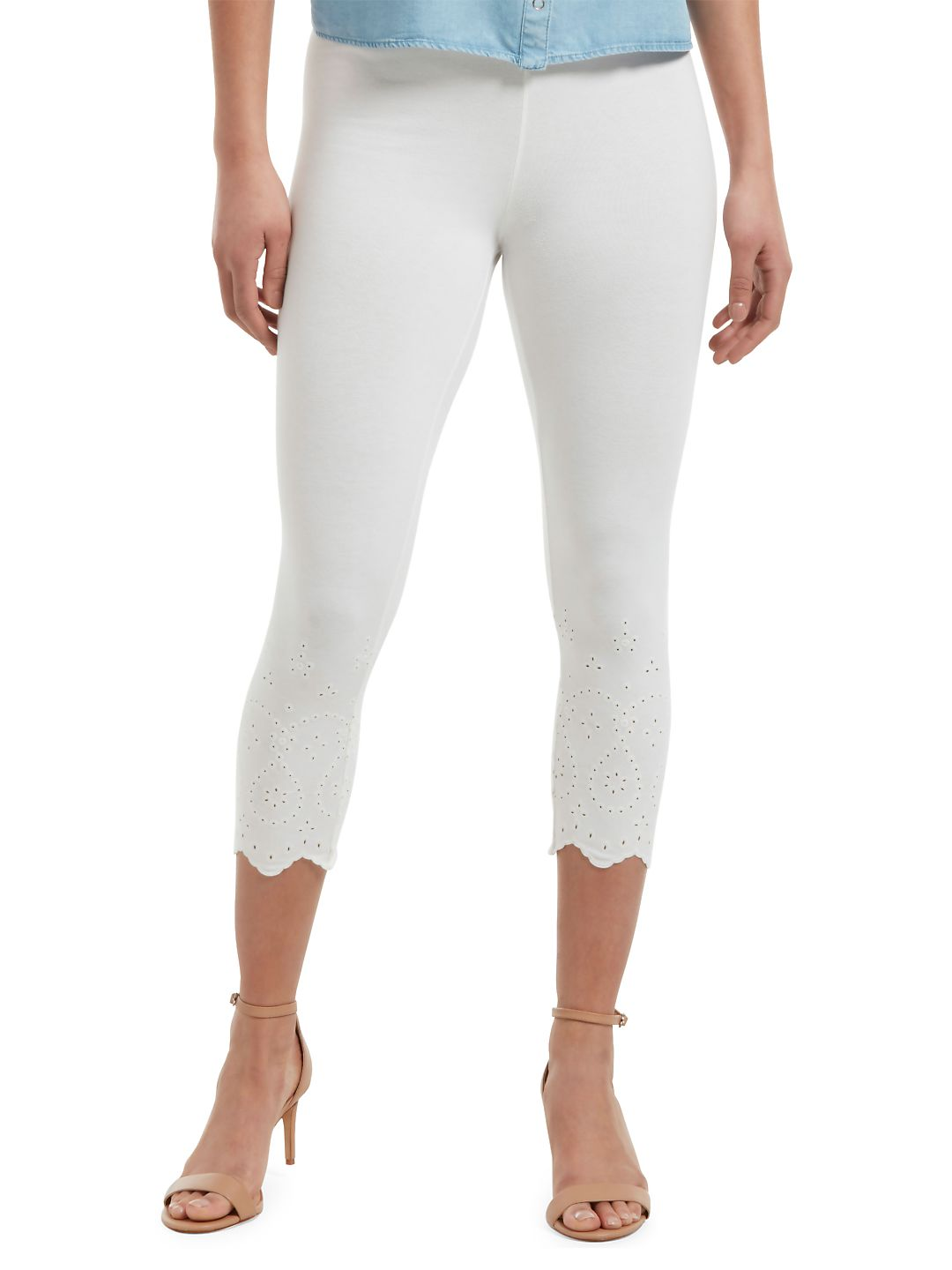 Eyelet-Trim Cotton Blend Capri