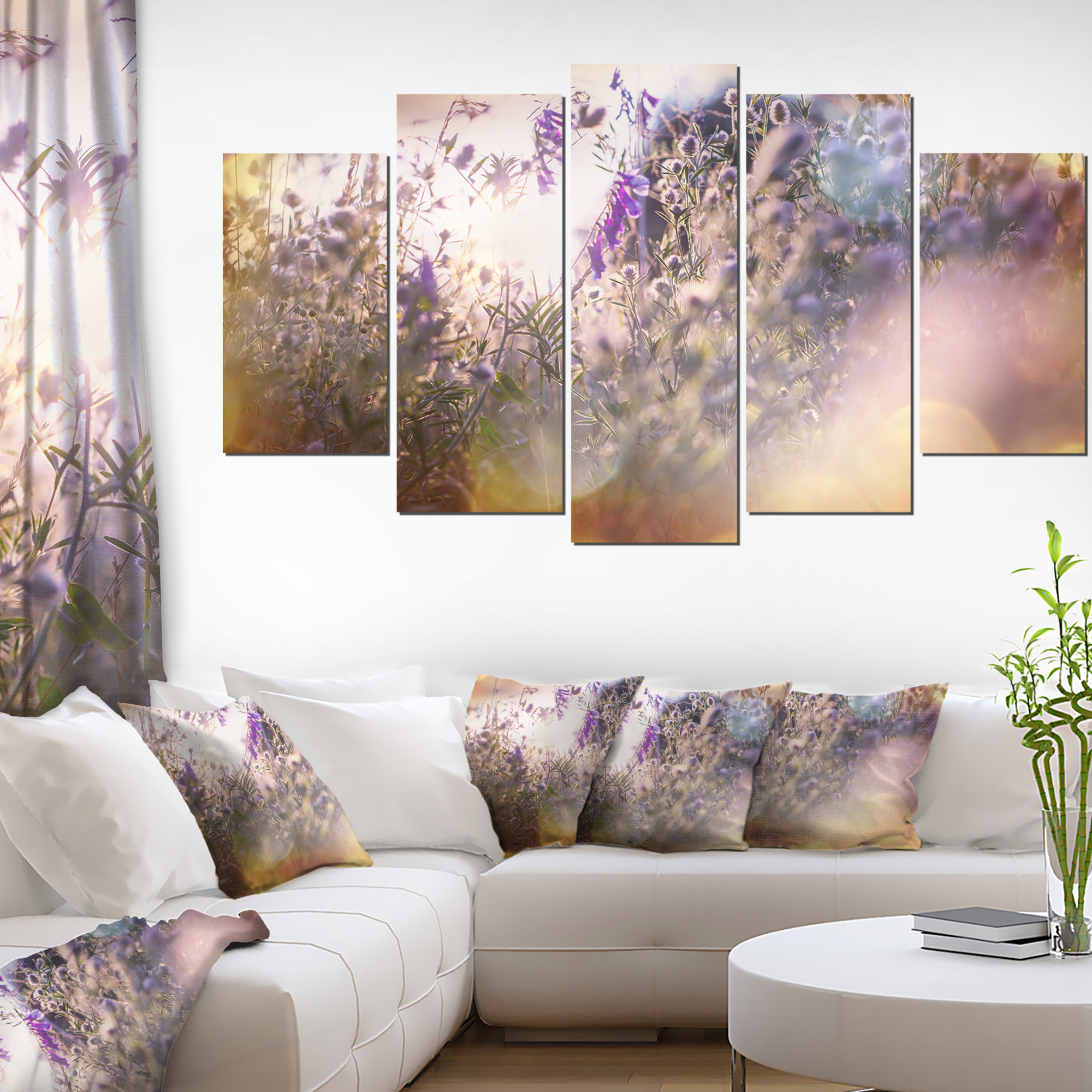 Summer Pasture with Purple Flowers - Extra Large Landscape Canvas Art - image 3 of 3