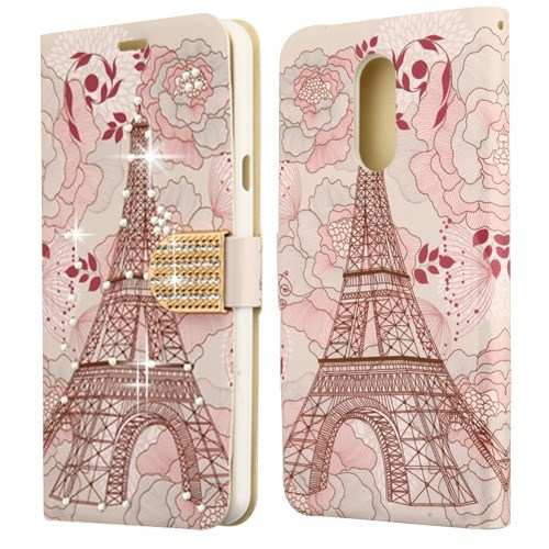 Kaleidio Case For LG Stylo 4 / Stylo 4 Plus [Flip Jacket] Hybrid Wallet [Card Slot] [Diamante Strap] Carrying Skin Cover & Kickstand Feature w/ Overbrawn Prying Tool [Eiffel Tower]