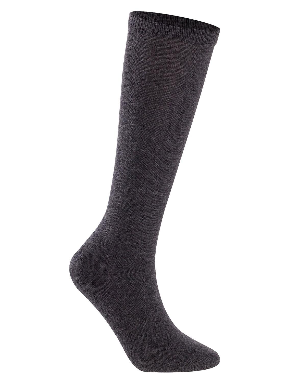 Lian LifeStyle Unisex Children 4 Pairs High Crew Combed Cotton Socks Large (12Y-15Y) Dark Grey