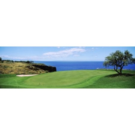Golf course at the oceanside The Manele Golf Course Lanai City Hawaii USA Canvas Art - Panoramic Images (18 x - Halloween City Oceanside