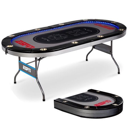 ESPN 10 Player Premium Foldable Poker Table with In-Laid LED Lights, 100% Pre-assembled, Steel Cup Holder, Compact Storage, Spill-Proof, (Money In The Middle Of Poker Table)