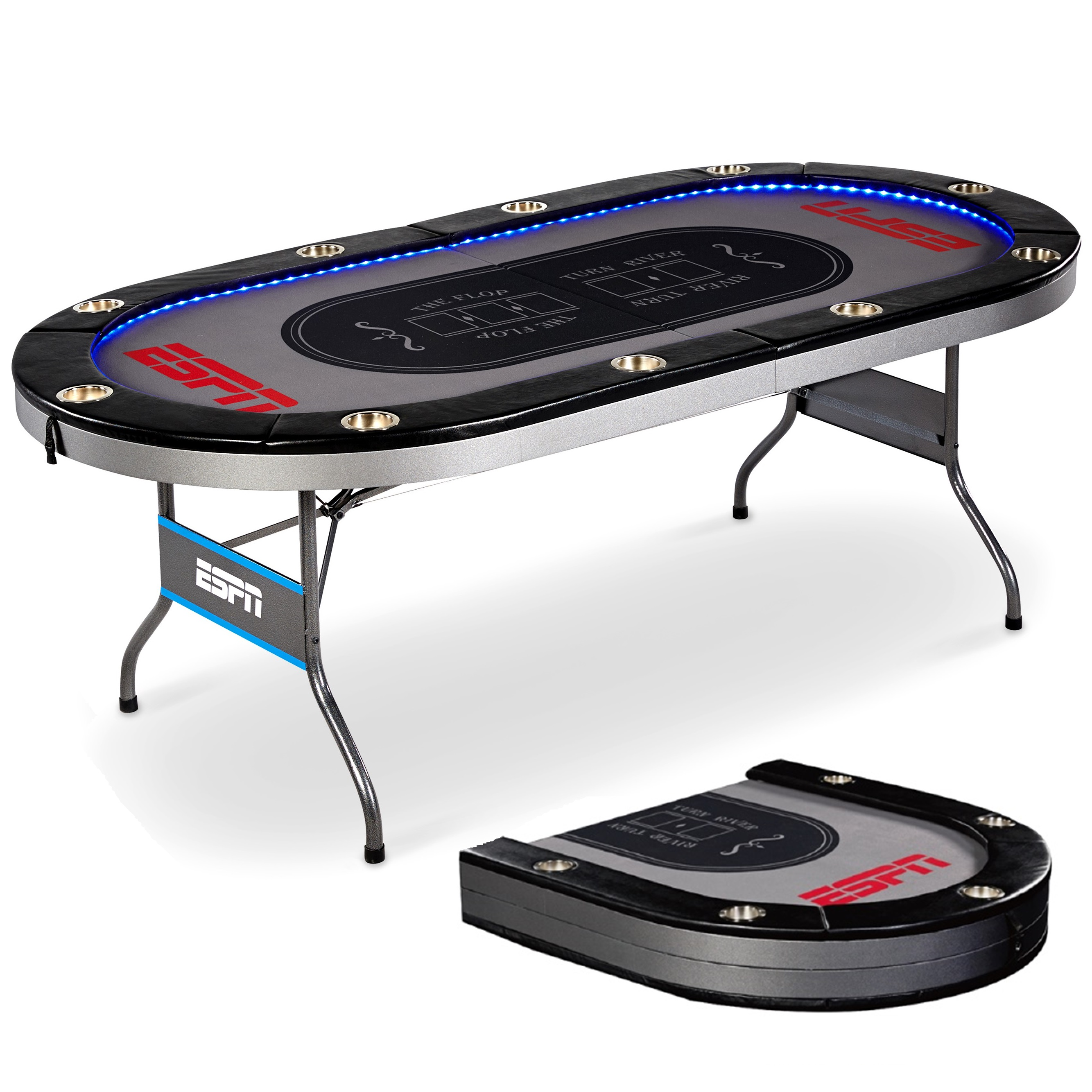 ESPN 10 Player Premium Poker Table With In Laid LED Lights, No Assembly  Required, Foldable, Gray