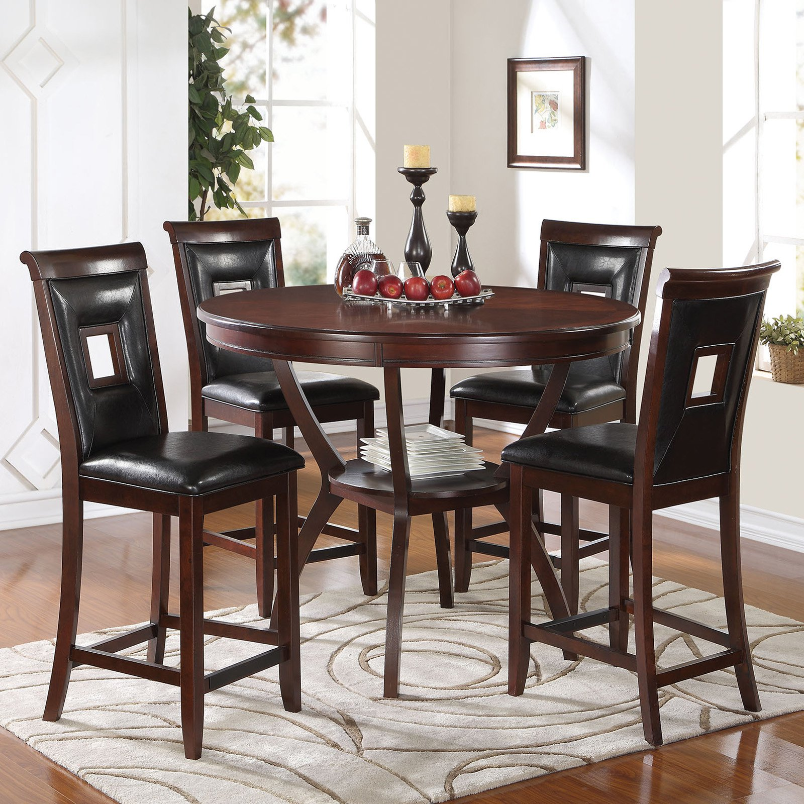 ACME Oswell 5-Piece Pack Counter Height Set, Black PU & Cherry