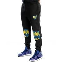 Golden State Warriors Two Hype Original 90's Team Kente Knee Patch Pants - Black
