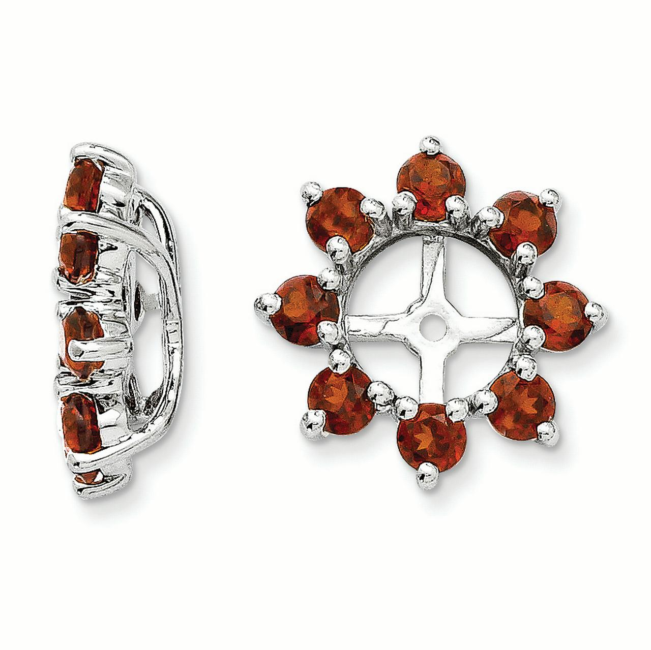 Sterling Silver Garnet Earring Jacket
