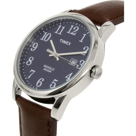 Men's Easy Reader Blue Dial Watch, Brown Leather Strap Blue Leather Strap Watch