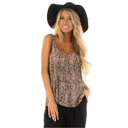 Womens Snake Skin Print Strap Sleeveless Vest Summer Causal Tank Top T -