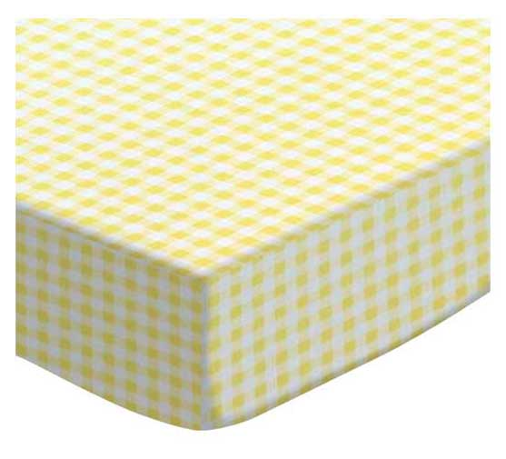 SheetWorld Fitted Portable / Mini Crib Sheet - Yellow Gingham Jersey